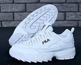 Зимние женские и мужские кроссовки Fila Disruptor 2(II) White с мехом, фото 2