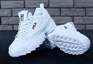 Зимние женские и мужские кроссовки Fila Disruptor 2(II) White с мехом, фото 3