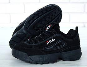 Зимние женские и мужские кроссовки Fila Disruptor 2(II) Black с мехом, фото 3