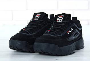 Зимние женские и мужские кроссовки Fila Disruptor 2(II) Black с мехом, фото 2