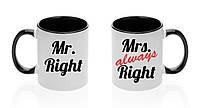 """Парные чашки """"Mr. и Mrs. Right"""""""