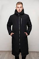 Мужская зимняя куртка длинная черная, фото 1