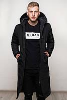 Мужская зимняя куртка длинная черная