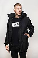 Мужская зимняя куртка черная с капюшоном
