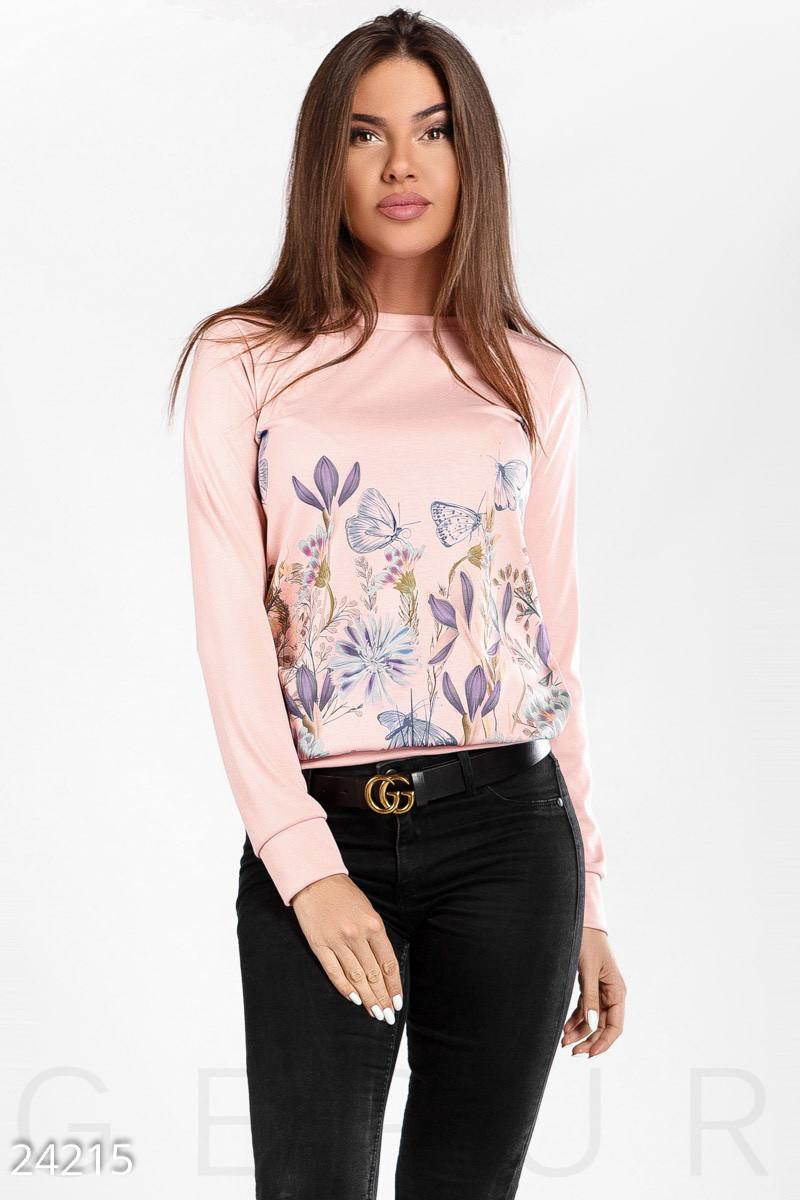 Розовый трикотажный свитшот с принтом больших размеров