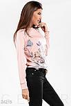 Розовый трикотажный свитшот с принтом больших размеров, фото 2