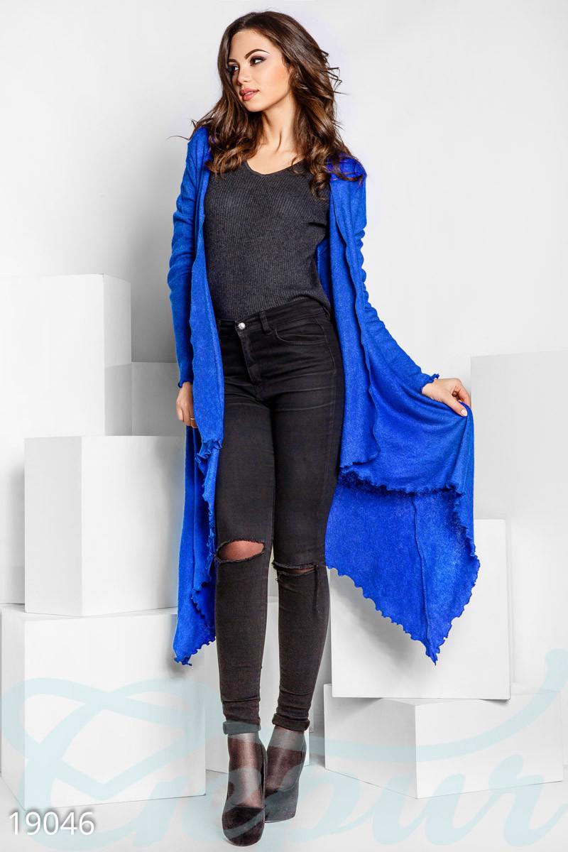 Стильный шерстяной кардиган цвета синий электрик