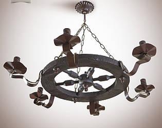 Люстра трактир дерев'яна, 6-ти лампова, колесо 561-1
