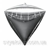 """Фольгований куля алмаз 3D срібло 22"""" Китай"""