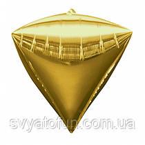 """Фольгований куля алмаз 3D золото 22"""" Китай"""