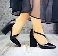 Женские туфли, натуральная кожа, каблук 9,5 см, черные 36