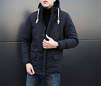 Парка мужская зимняя Elite черная. Куртка удлиненная. Теплая курточка