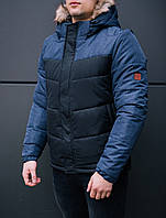 Куртка мужская Winner черная с синим. Куртка удлиненная зимняя. Теплая курточка