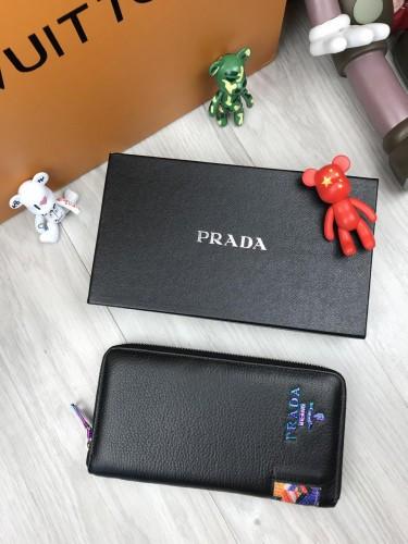 a180e514b1d6 Брендовый кожаный кошелек Prada черный клатч на молнии с ремешком женский  мужской кожа бумажник Прада реплика ...