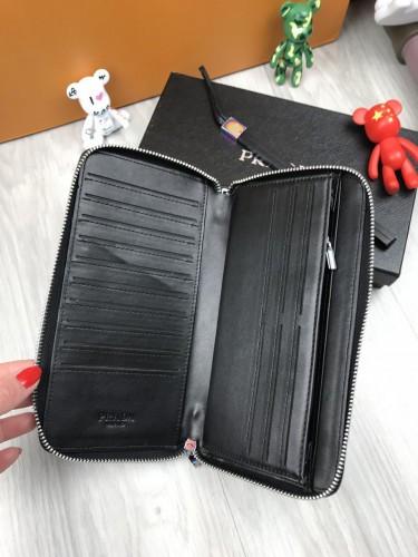 2d652db7cd14 ... Брендовый кожаный кошелек Prada черный клатч на молнии с ремешком  женский мужской кожа бумажник Прада реплика ...