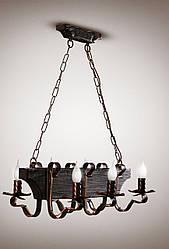 Люстра трактир на цепях деревянная, цвет венге 6-ти ламповая  568