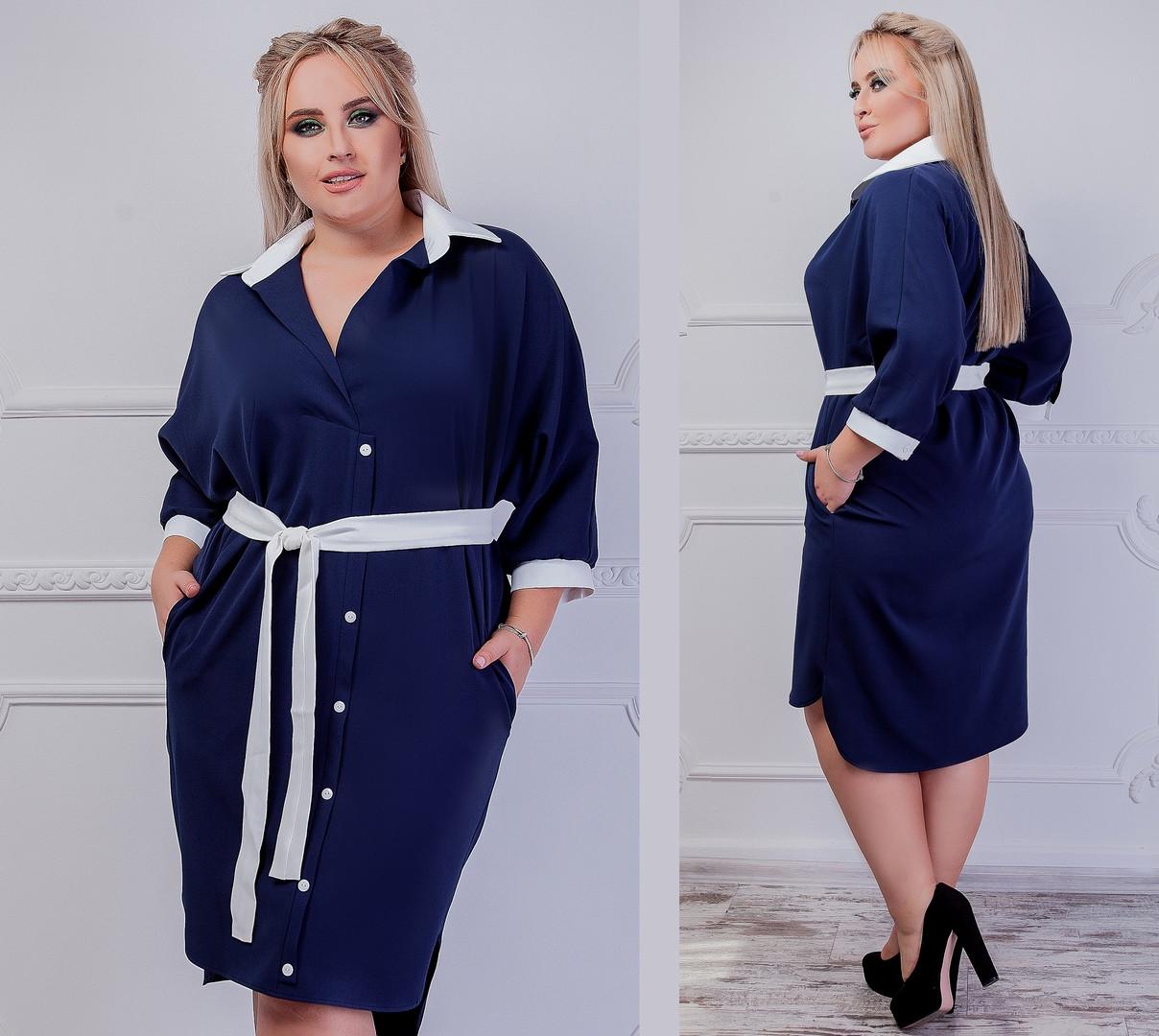 87c748a36ac2 Платье рубашка больших размеров от 46 до 64 , с удлиненной спинкой, в  комплекте пояс