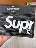 Молодіжна чоловіча візитниця Louis Vuitton Supreme чорна Якість картхолдер Брендовий Луї Віттон репліка, фото 3