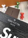 Молодіжна чоловіча візитниця Louis Vuitton Supreme чорна Якість картхолдер Брендовий Луї Віттон репліка, фото 4