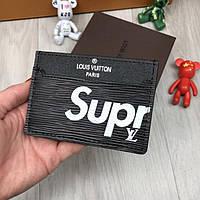 Брендовая визитница Louis Vuitton Supreme черная кредитница кожзам женская мужская холдер для карт реплика