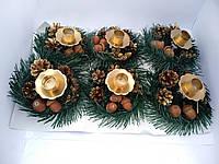 Подсвечник Новогодний декоративный натуральный 15 см*9 см золото
