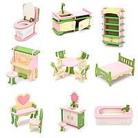 Комплект игрушки кукольной деревянной мебели для дома Миниатюрные аксессуары для комнаты Детская привлекательная игрушка Подарочный дек
