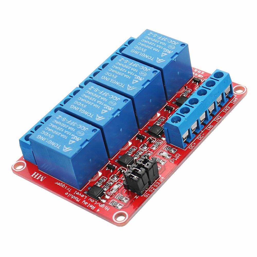 5V 4-канальный релейный модуль с оптоволоконным триггером для Arduino - 1TopShop