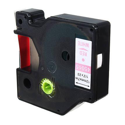 12mmx7m Пластиковая лента для этикеток. совместимая с Dymo D1 LetraTag 45015 Red On White - 1TopShop, фото 2