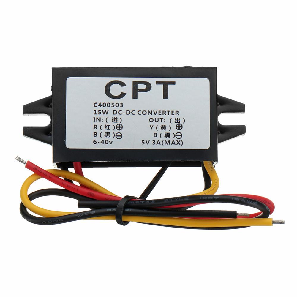 6-40V до 5V/3A DC Мужской конвертер для Raspberry Pi / Мобильный телефон / Навигатор / Дисковод для вождения - 1TopShop