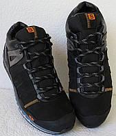 Зимние кожаные мужские кроссовки натуральный мех Соломон