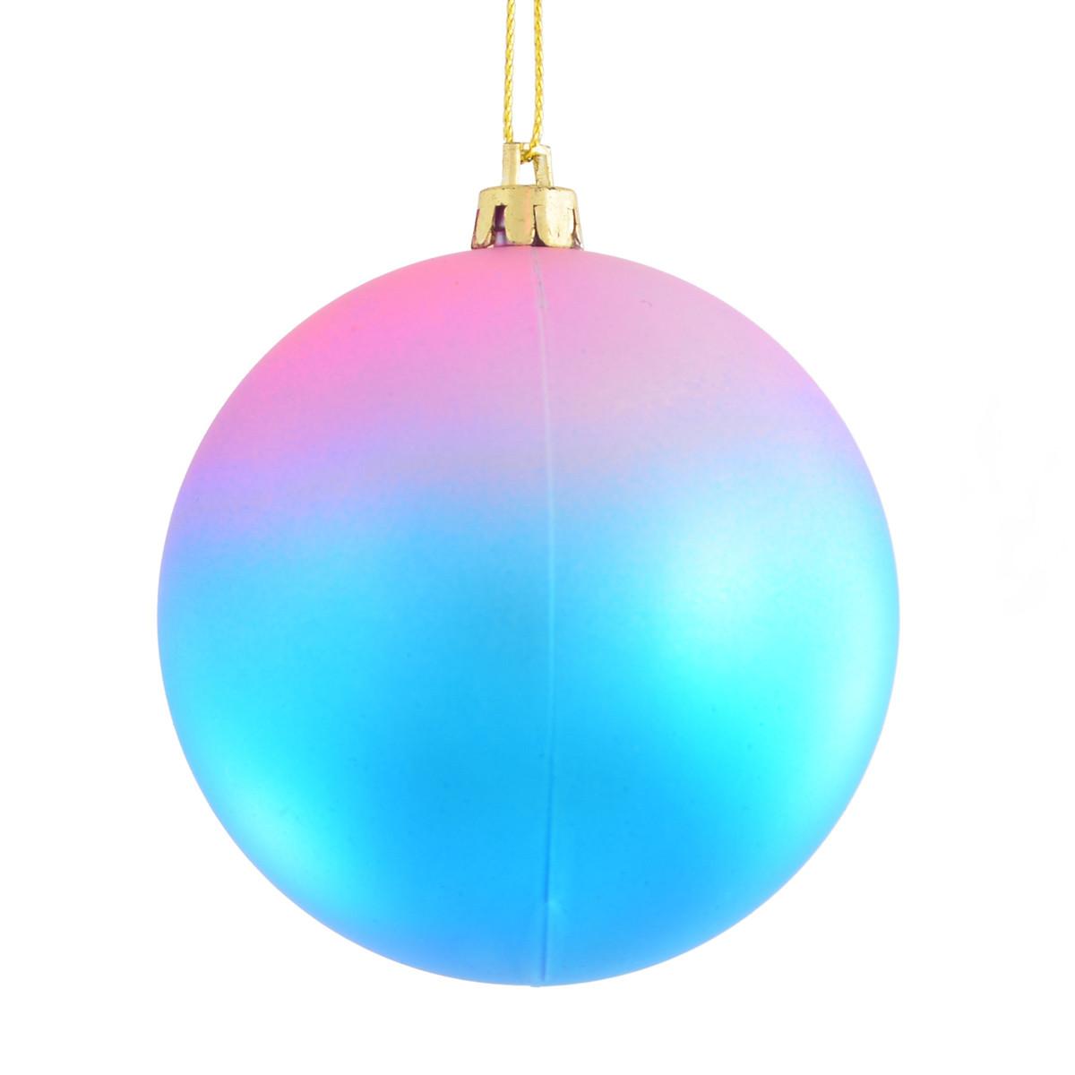 """Шар новогодний """"Градиент"""" голубой d-8 см."""