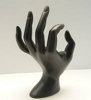 Подставка под кольца-рука,цвет черный, керамика, размер 18х11,5 см