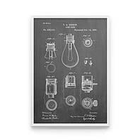 Постер на стену EDISON LAMP SCHEME для любителей чертежей и меловых досок