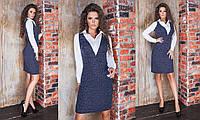 Женское облегающее платье ангоровое с люрексом  рукав и декольте из котона 42-44, 44-46