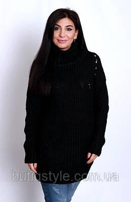 Удлиненный женский свитер под горло