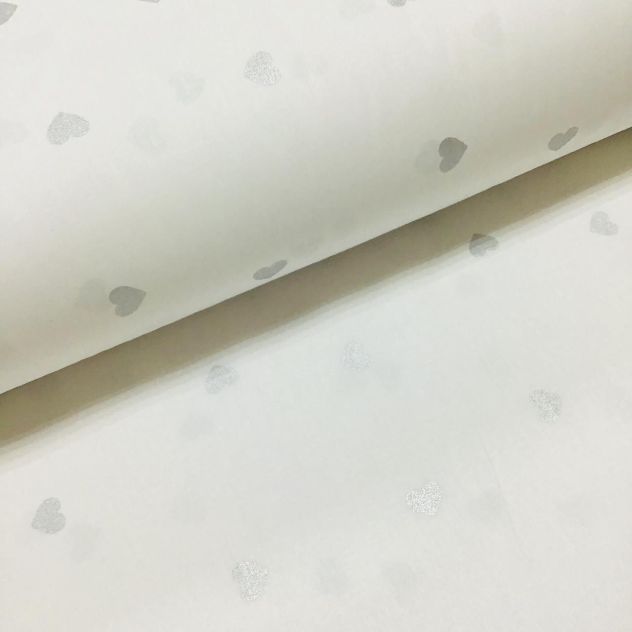 Ткань поплин серебряные (глиттер) сердечки на белом (ТУРЦИЯ шир. 2,4 м) №32-121