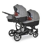 Детская коляска для двойни Verdi FOR2 03 серый с коричневым