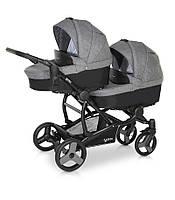 Детская коляска для двойни Verdi FOR2 04 серый с черным