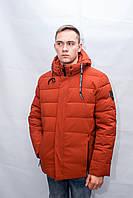 Мужской зимний пуховик куртка теплая красная с капюшоном спортивная