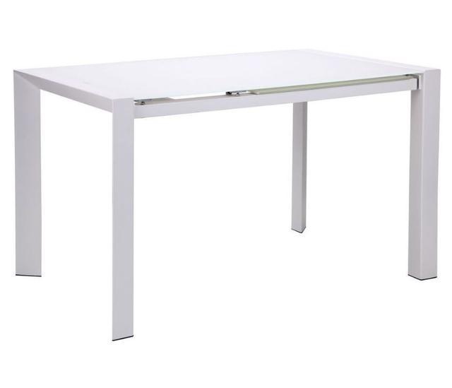 Стол B179-70 1220(1820)х800х760 База белый/Стекло белый