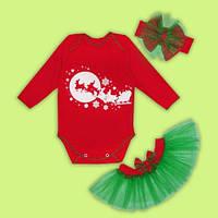"""Новогодний комплект """"Мой первый Новый год"""",Праздничный комплект для маленькой девочки"""
