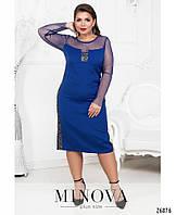 Платье оригинальное прямое вставка сетка пайетки корпоратив  интернет-магазин сайт Minova большой размер 48-56