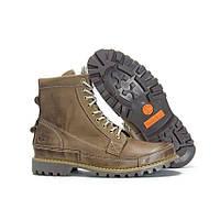 Оригинальные мужские ботинки Timberland Rugged High Grey Khaki (Тимберленд) - хаки, коричневые, с мехом