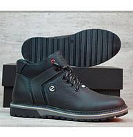 ХИТ! Зимние Кожаные Мужские Ботинки ECCO с Мехом! Теплая зимняя мужская обувь на меху