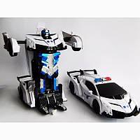 Машинка Робот Трансформер Lamborghini Police на пульте управления (автобот), фото 1