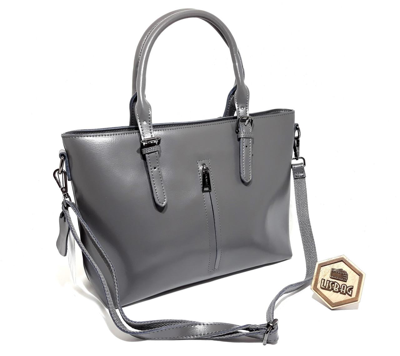 25f61f6966ca ... Большая классная женская сумка Galanty из натуральной кожи  классического дизайна Серого цвета, ...