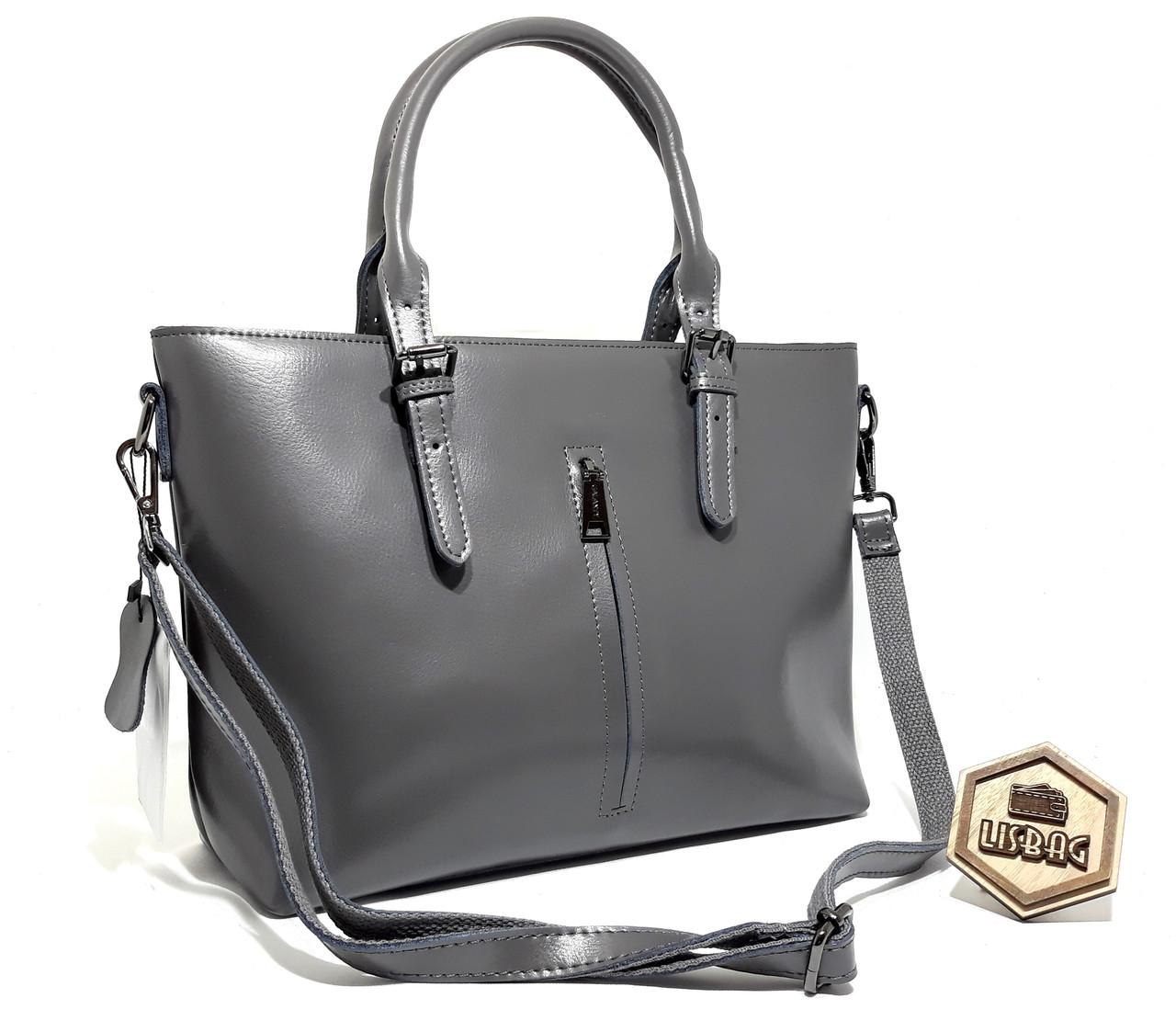5cf813cd1748 Большая классная женская сумка Galanty из натуральной кожи классического  дизайна Серого цвета - Интернет магазин Lisbag