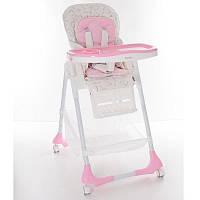 Стульчик M 3822-3 (1шт) для кормления, 5точ.ремни, столик выдв. 4колеса, кож.,розовый