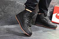 Кроссовки мужские Nike Lunar Force 1 Duckboot зима повседневные высокие удобные стильные (черные), ТОП-реплика, фото 1