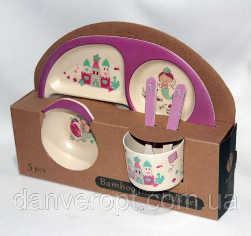 Посуда детская RUSALKA подарочный набор эко бамбук купить оптом со склада 7км Одесса